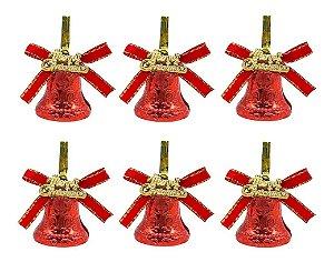 Enfeite Mini Sino Decoração Pendente Árvore Natal 12 Peças