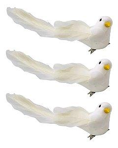 Kit 6 Pássaros Pombo Da Paz Com Presilha Enfeite Decorativo