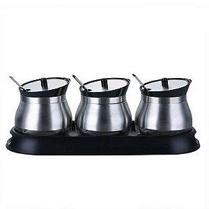 Kit Porta Condimentos c/ 3 potes + suporte
