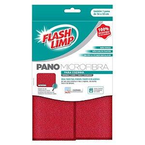 Kit 3 Panos de Microfibra para Cozinha Flashlimp Vermelho