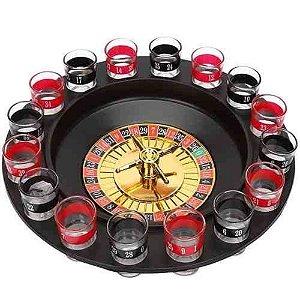 Jogo de Roleta Cassino Drink Shot c/ 16 Copos
