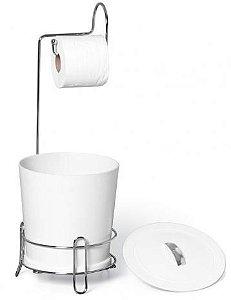 Suporte de Papel Higienico c/ Lixeira Branco - Niquelart