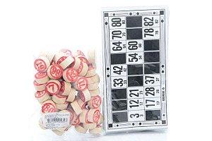 Jogo de Bingo c/ Peças em Madeira - 90 Pedras + 48 Cartelas