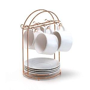 Porta Xícaras de Chá Arthi Rosé Gold para 6 peças