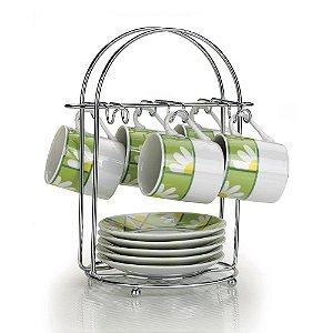 Porta Xícaras de Chá Arthi Aço Cromado para 6 peças