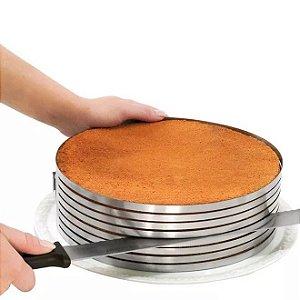 Aro Inox Ajustável Fatiador de Camadas p/ Bolo 24-30 cm
