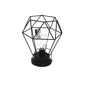 Luminária Losango Decorativa de Metal 21cm USB/Pilha Cor Preta
