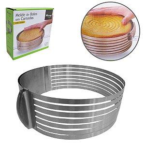 Forma Para Fatiar Bolo Ou Torta Regulavel Inox 24-30 Cm