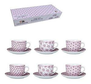 Conjunto de Xícaras Para Chá em Porcelana 12 Peças Agatha Rosa 220ml