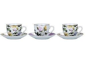 Conjunto de Xícaras Para Chá em Porcelana 12 Peças Leda 220ml