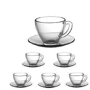 Conjunto de Xícaras Lisas com Pires Para Café 6 peças Vidro 90ml