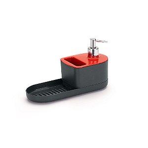 Dispenser para Detergente c/ Porta Sabão e Esponja Vermelho - Arthi