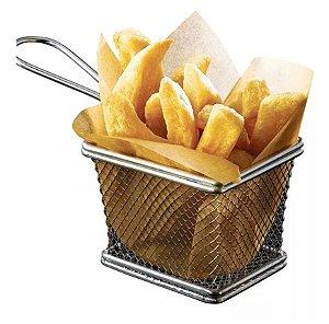 Kit c/ 12 Mini Cesto P Fritura Servir Porções Quentes Batata Frita