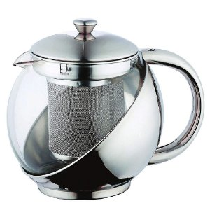 Bule Infusor para Chá em Inox e Vidro 800ml Ke Home