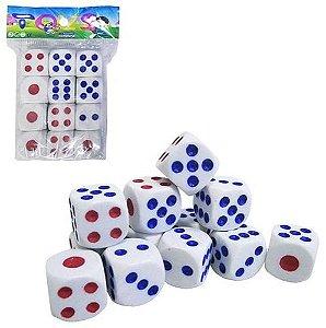 Jogo com 12 dados para jogo azul e vermelho