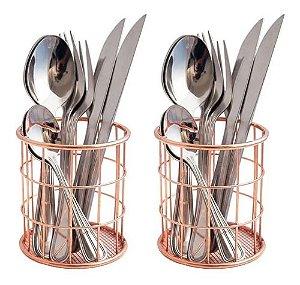 Kit Com 2 Porta Treco Pincel Talher Lápis Em Metal Rose Gold