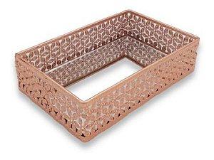 Bandeja Decorativa Metal Rose Gold Espelhada Luxo Enfeite