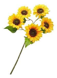 Flor Artificial Girassol Grande 5 Flores 95 Cm Decoração