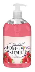 Kit Com 10 Sabonete Líquido 500ml Morango Tropical Aromas