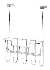 Cabide Com 5 Ganchos E Cesto Organizador Para Porta