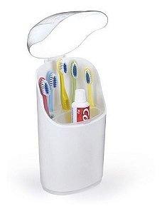 Porta Escovas De Dente E Pasta Com Tampa Em Plástico - Arthi