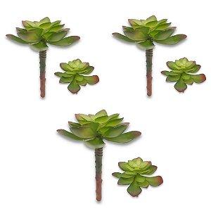 Kit 3 Plantas Suculenta Artificial 13x10 Cm Decoração