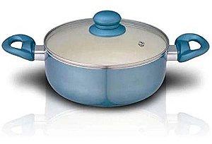 Panela Caçarola 20 Cm Alumínio Revestimento Cerâmico Azul AL026