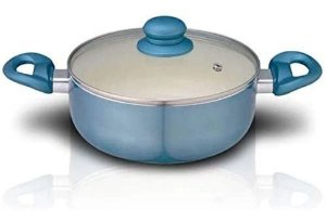 Panela Caçarola 22 Cm Alumínio Revestimento Cerâmico Azul AL031