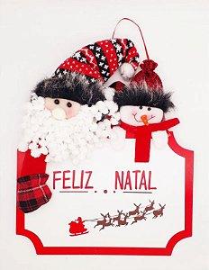 Placa Decorativa Pendente Madeira Lã Para Porta Enfeite Natal