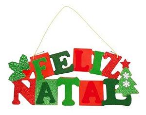 Placa Decorativa Pendente P/ Porta Feliz Natal