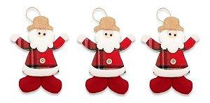 Kit 3 Enfeite De Natal Pendente Boneco Xadrez Papai Noel