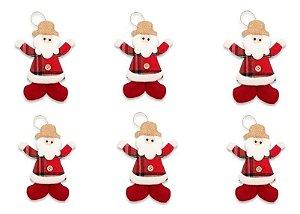 Kit 6 Enfeite Natal Pendente Boneco Xadrez Botão Papai Noel