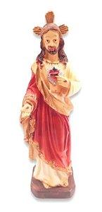 Escultura Estátua De Resina Sagrado Coração De Jesus 15 Cm