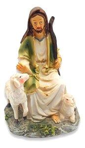 Estátua De Resina Escultura Jesus Pastor De Ovelhas 15 Cm