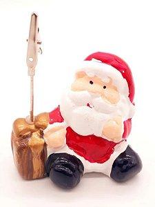 Papai Noel De Porcelana Com Prendedor De Foto Enfeite 9 Cm