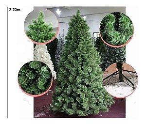 Árvore Pinheiro Natal Luxo Verde Nevada 2,70m 1039 Galhos