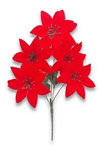 Kit Com 6 Buquê Bico De Papagaio 5 Flores Vermelho Natal