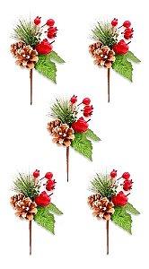 Kit 5 Buquês Flor De Natal Cereja E Pinha Decorativo 20 Cm