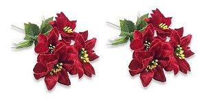 Kit 2 Buquês Flor De Natal Vermelho Bico De Papagaio 30 Cm