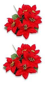 Kit 2 Buquês Flor De Natal Vermelha Bico De Papagaio 30 Cm