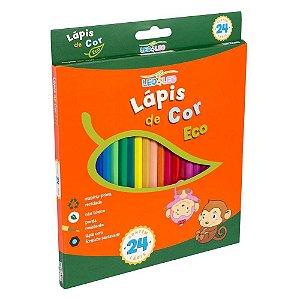Lápis de Cor Sextavado 24 Cores LEO&LEO Eco Ponta Resistente