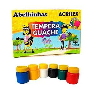 Tinta Guache Tempera Guache 6 Cores  Abelhinha Acrilex 15 Ml Não Atóxico