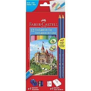 Lápis de Cor 12 cores Sextavado (kit) + Borracha  Apontador e 2 Lápis Grafite