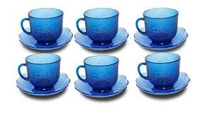 Jogo Com 6 Xícaras De Vidro E Pires 200ml Café Chá  Azul