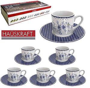 Jogo De Xícaras De Café 12 Peças Porcelana Flores Azul 90 Ml Hauskraft