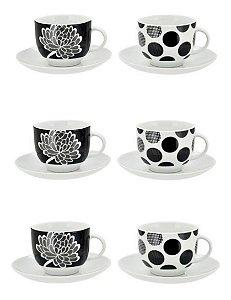 Jogo De Xícaras Café Porcelana Cinza E Preto 90 Ml 12 Peças