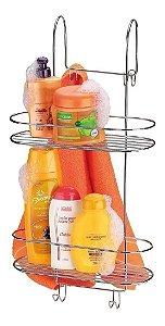 Suporte Duplo Cromado Box Porta Shampoo E Toalhas Arthi