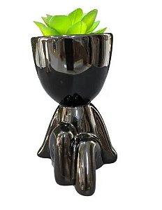 Vaso Decorativo Para Planta Suculenta Robert Plant Preto
