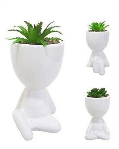 Vaso Decorativo Para Planta Suculenta Robert Plant Branco