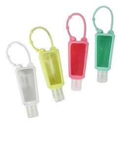 Kit Com 12 Frasco Para Álcool Gel Sabonete Líquido Creme Chaveiro Silicone Colorido Clink 30ml